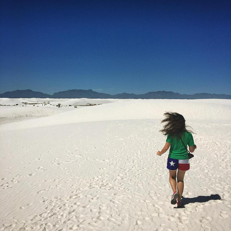 My new roommate and I stopped at White Sands National Park on our way.