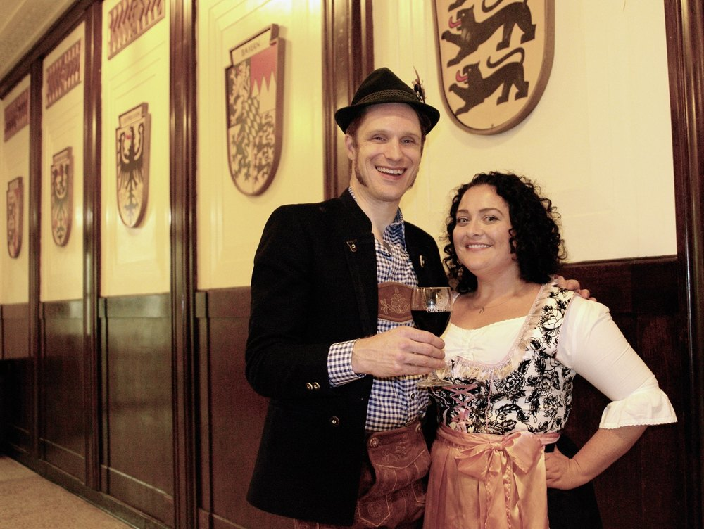 Host, Vintage Deutsch fashion show.  With Brian von Rueden, Dank Haus, Sept 2015
