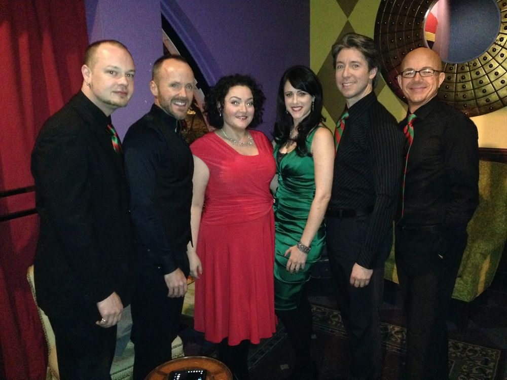 The cast of Songs from my Holiday Closet:  James Morehead, LT Cousineau, Ashlee, Cristin Boulette, George Keating, John Cardone.