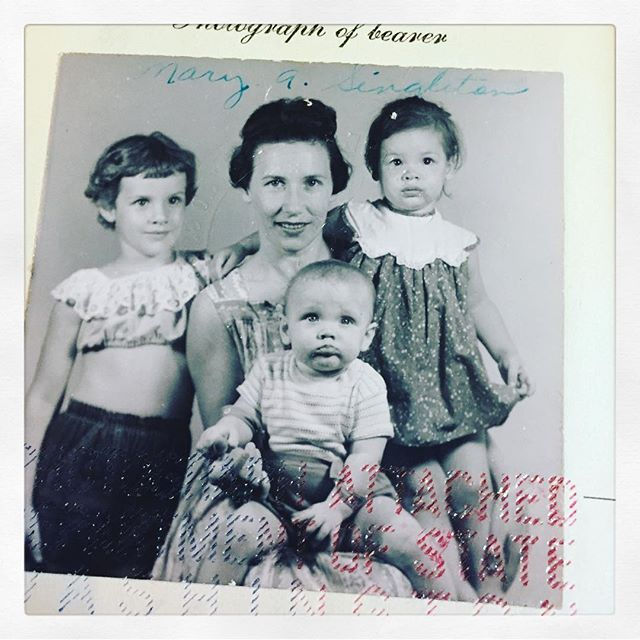 My mom, uncle, aunt, and grandmother in my grandmother's passport photo, 1958.