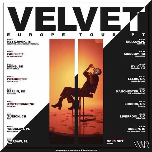 Velvet Europe Tour Starts this week. Get Your Tickets Now: iamjmsn.com/tour