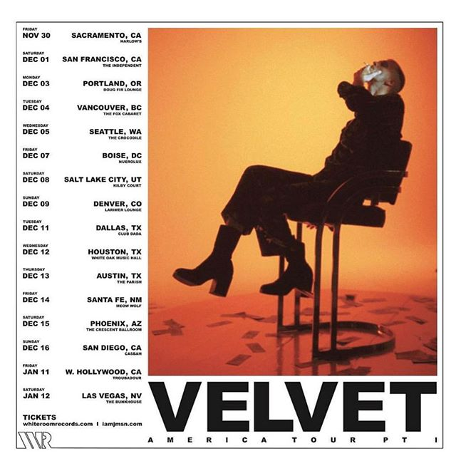 LA and Las Vegas Added to the 'Velvet America Tour' Tickets for All Shows at iamjmsn.com/tour