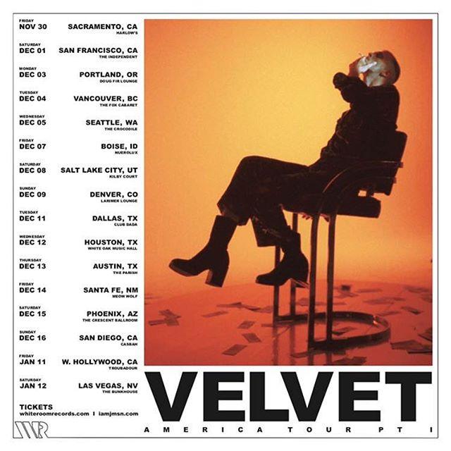 'Velvet America' Tour  Starts this Friday. Tickets at iamjmsn.com/tour