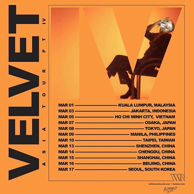 Just Announced: 'Velvet Asia Tour' Tickets at iamjmsn.com/tour