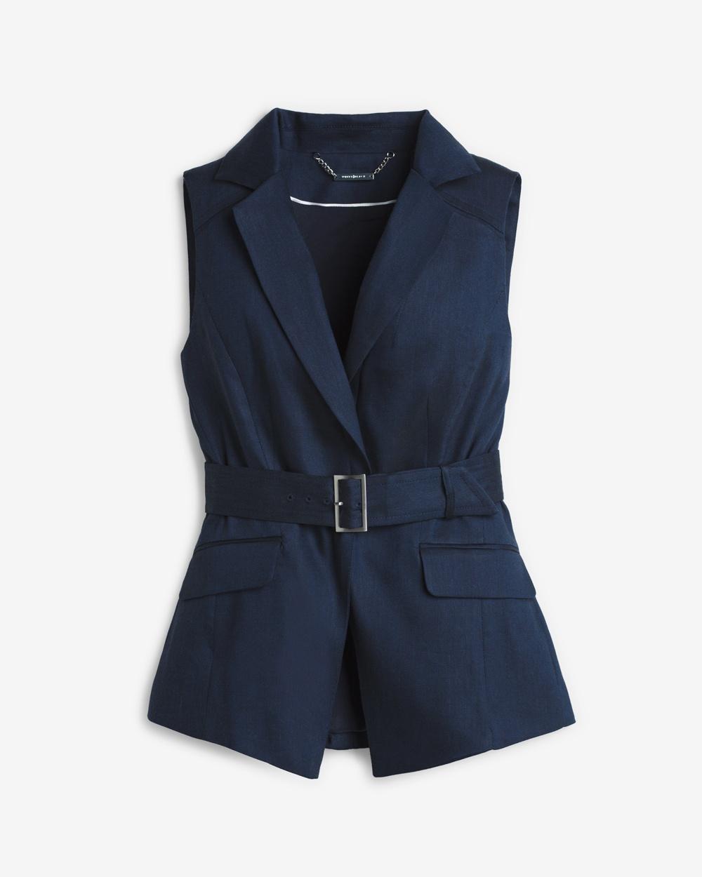 White House Black Market Linen Vest, $39.98 (FINAL SALE, size 14 available)