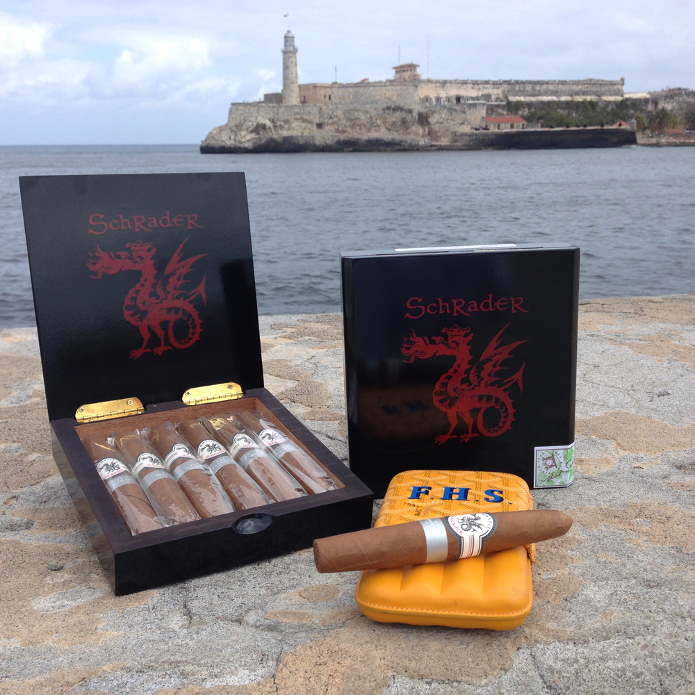 Photo: Leticia Leon Schrader Sparky Cigars in Havana Overlooking Morro Castle — Historic Fort built in 1580.