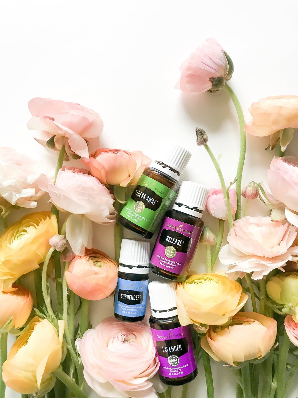 The fabulous four- Incredible emotional support oils, Stress Away, Release, Surrender and Lavender.