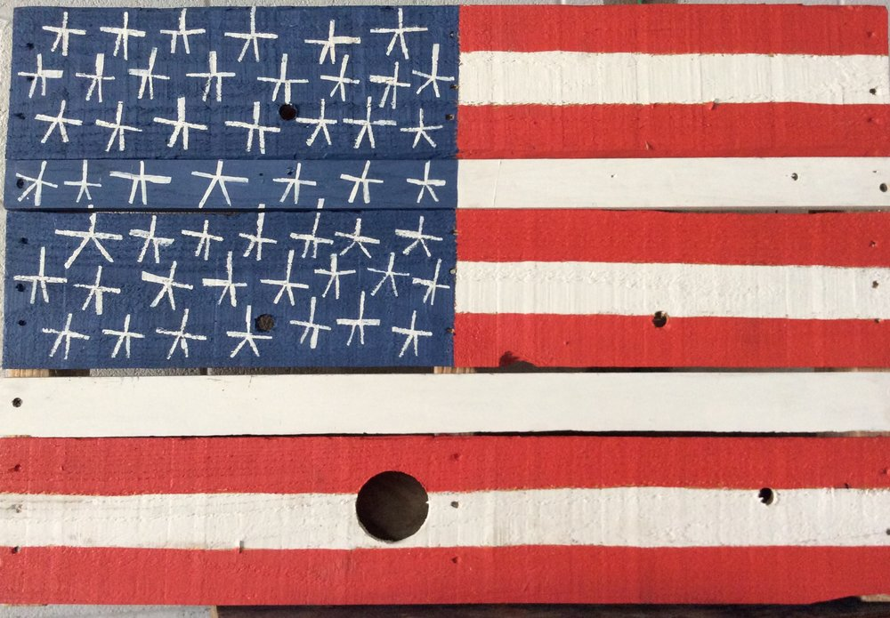 Pallet Flag. $350. Paint on wood. 3ft. w. x 2ft h.