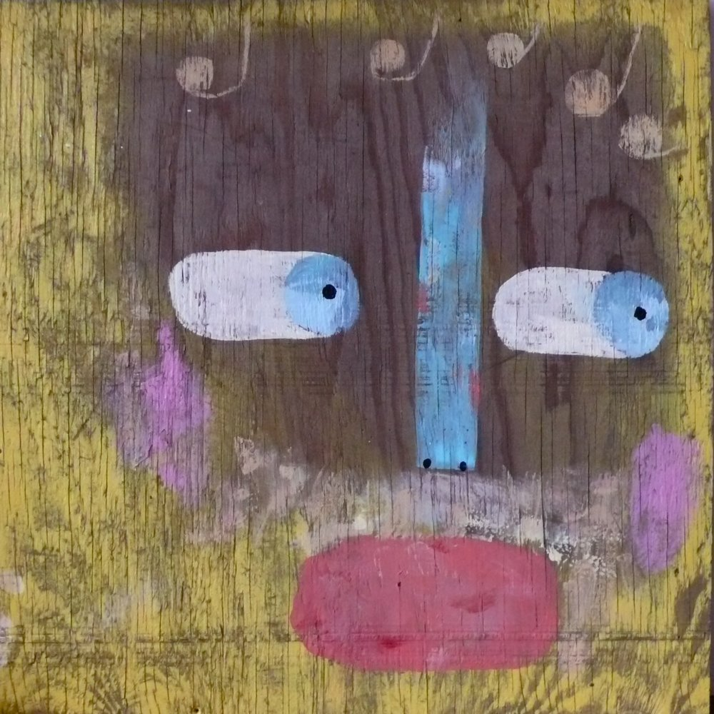 Wood Face. $200. 30 w. x 30 h. paint on wood