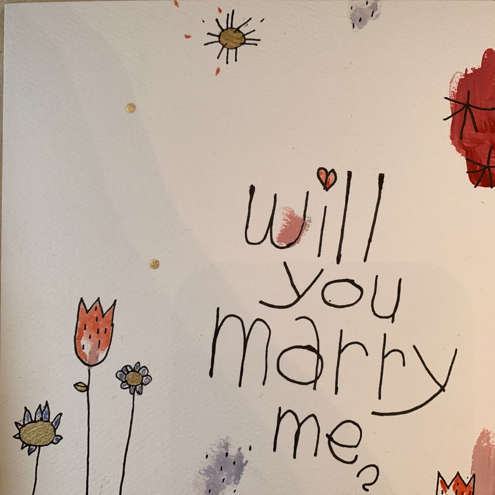 will you marry me? 5 1/2 x 5 1/2, hand painted card with envelope