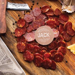 SAUCISSON JACK   Champignons des bois et 5 poivres. 2 saucissons par paquet.  10 x 130 g