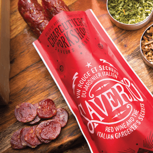 SAUCISSON SAVERIO Red wine and the Italian gardener's secrets. 2 sausages per pack. 10 x 130 g
