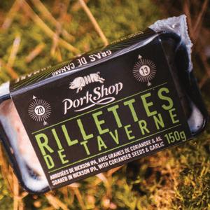 RILLETTES DE TAVERNE Bière Hickson IPA de la Brasserie Les 2 Frères, graines de coriandre et ail. 150 g/paquet | 1 kg/caisse