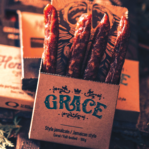 CARTOUCHE DE VIANDE GRACE   Style Jamaïcain, goût corsé  100 g/paquet |   12 unités/caisse