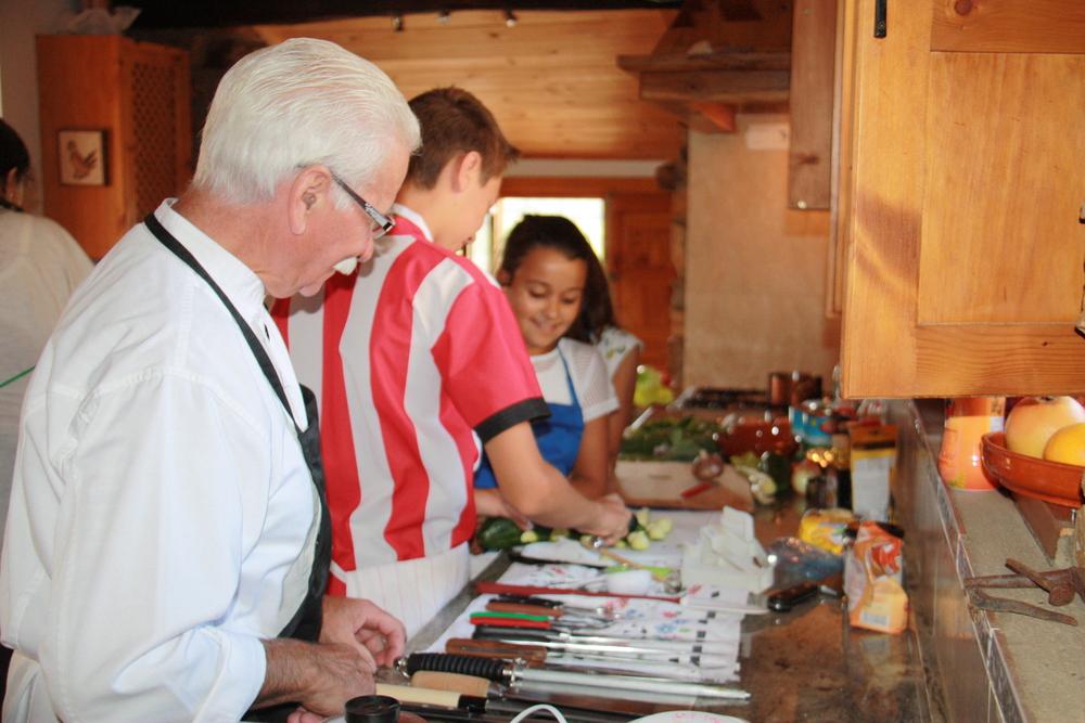Chef E admiring knife techniques
