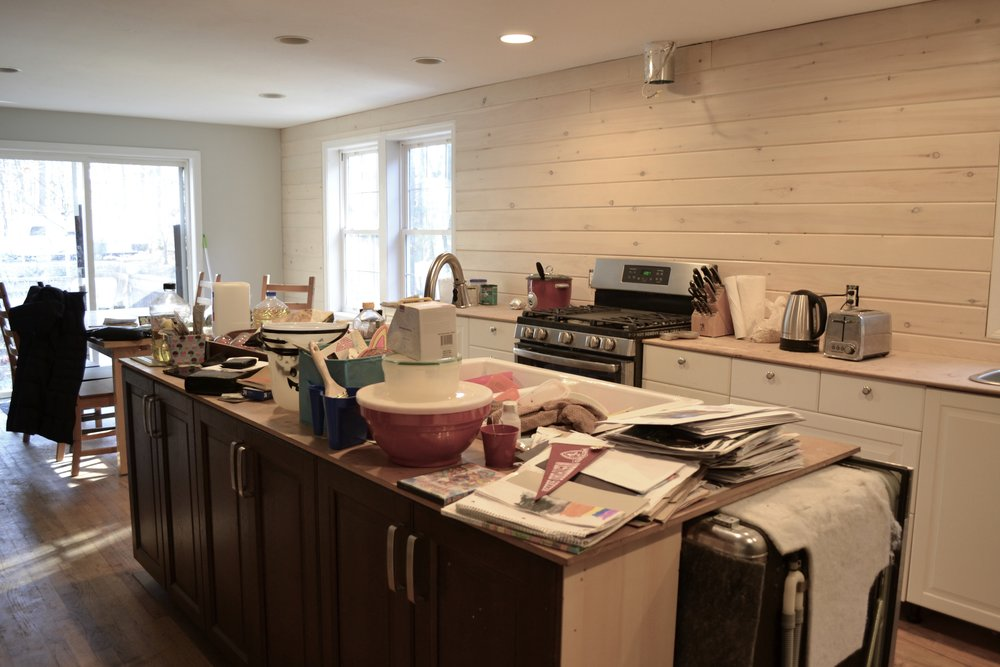 The kitchen before. This client had started a kitchen remodel but ran out of steam due to the overwhelming amount of stuff that had accumulated. We decluttered together, and then they were able to finish the kitchen just in time to host for the holidays!