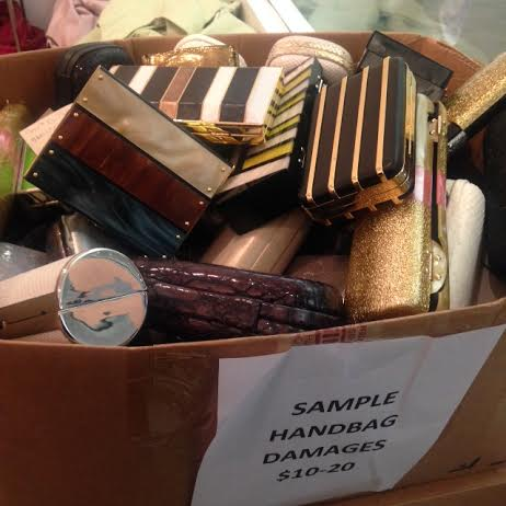 sample and damaged clutches at the Halston Heritage sample sale.