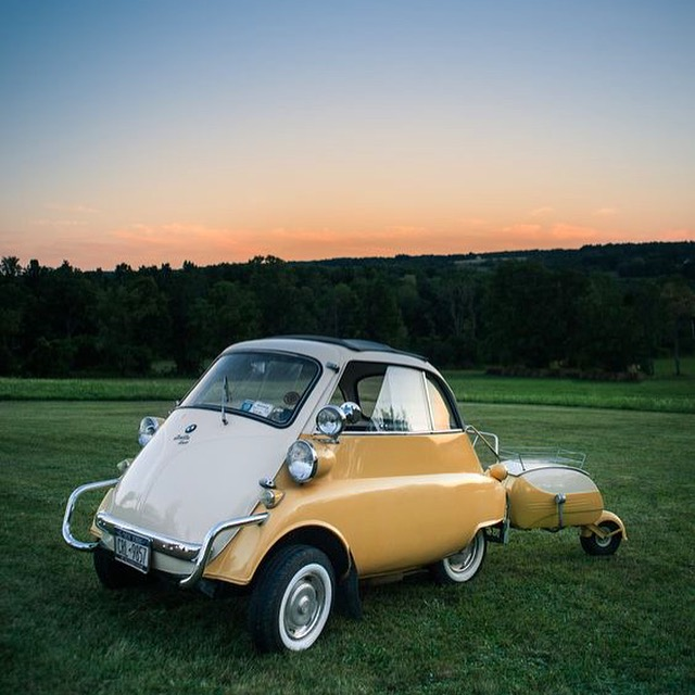 bwm isetta matching trailer vintage car