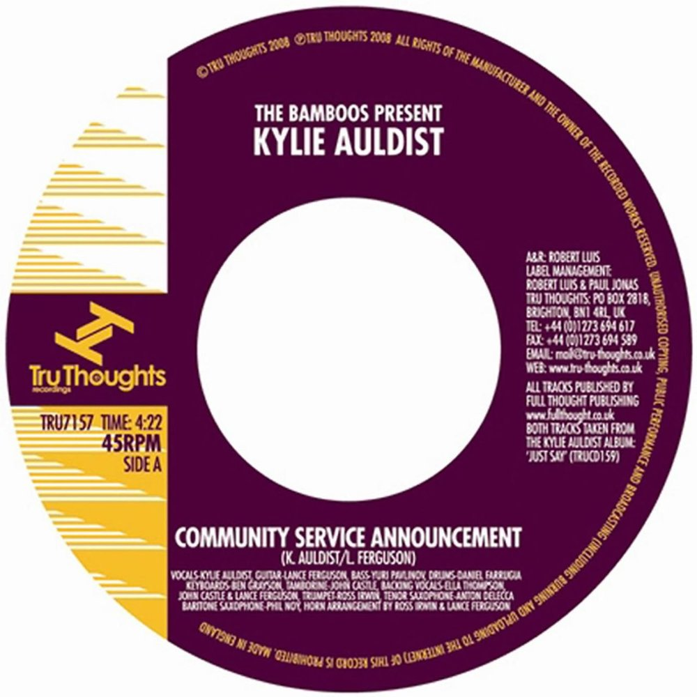 "42. The Bamboos Present: Kylie Auldist 'Community Service Announcement'/'Cut You Loose'  Tru Thoughts 7"" TRU7157 (Tru Thoughts) UK 2008"