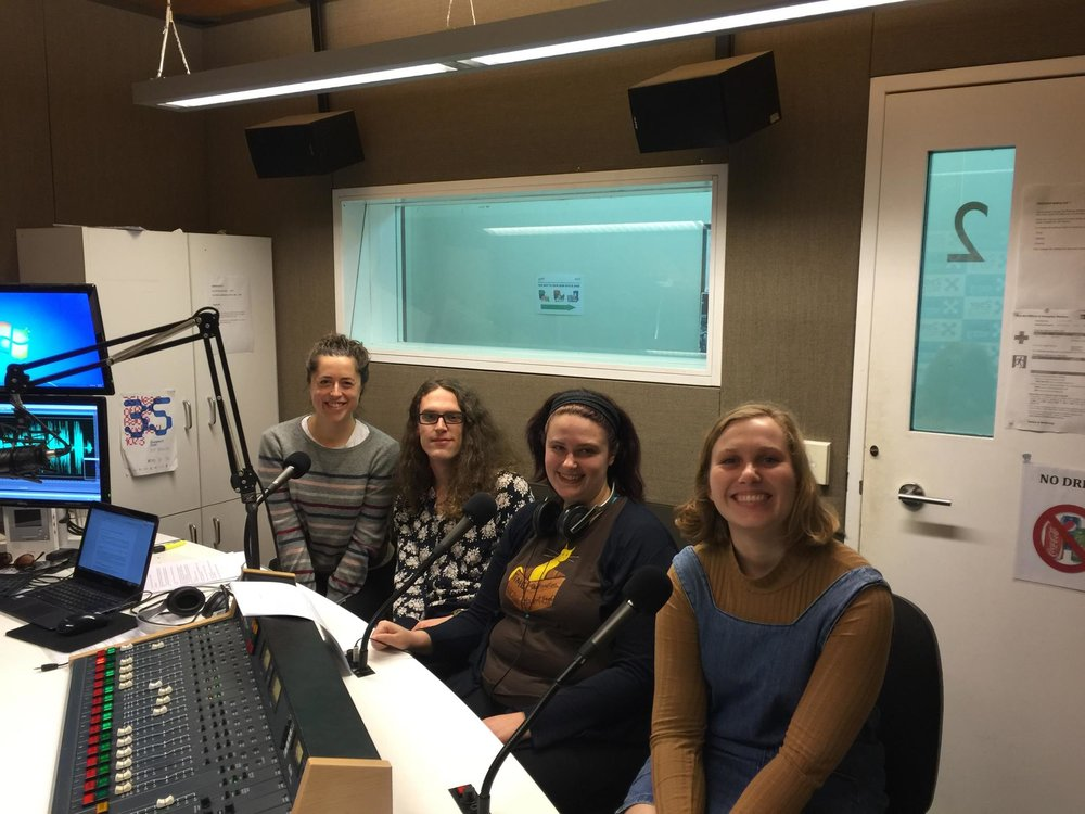 The crew of Spasming Hill recording an episode in-studio - from left to right: Amanda Maple-Brown, Sam Baran, Sharon Elkind, and Ang Collins!