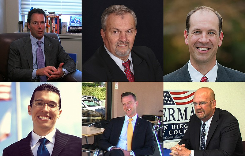 City Councilman Mark Kersey and District 5 candidates Frank Tsimboukakis and Keith Mikas appear on the top row, left to right. District 7 candidates Jose Caballero and Justin DeCesare and City Councilman Scott Sherman appear on the bottom row, left to right.