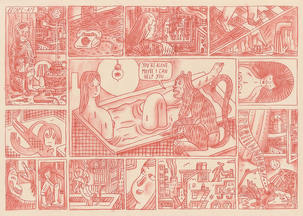'Escape-Ape', a comic by  Lea Heinrich  from   The Lifted Brow #23  .     cityoftinylights :     Dial M for Monkey!