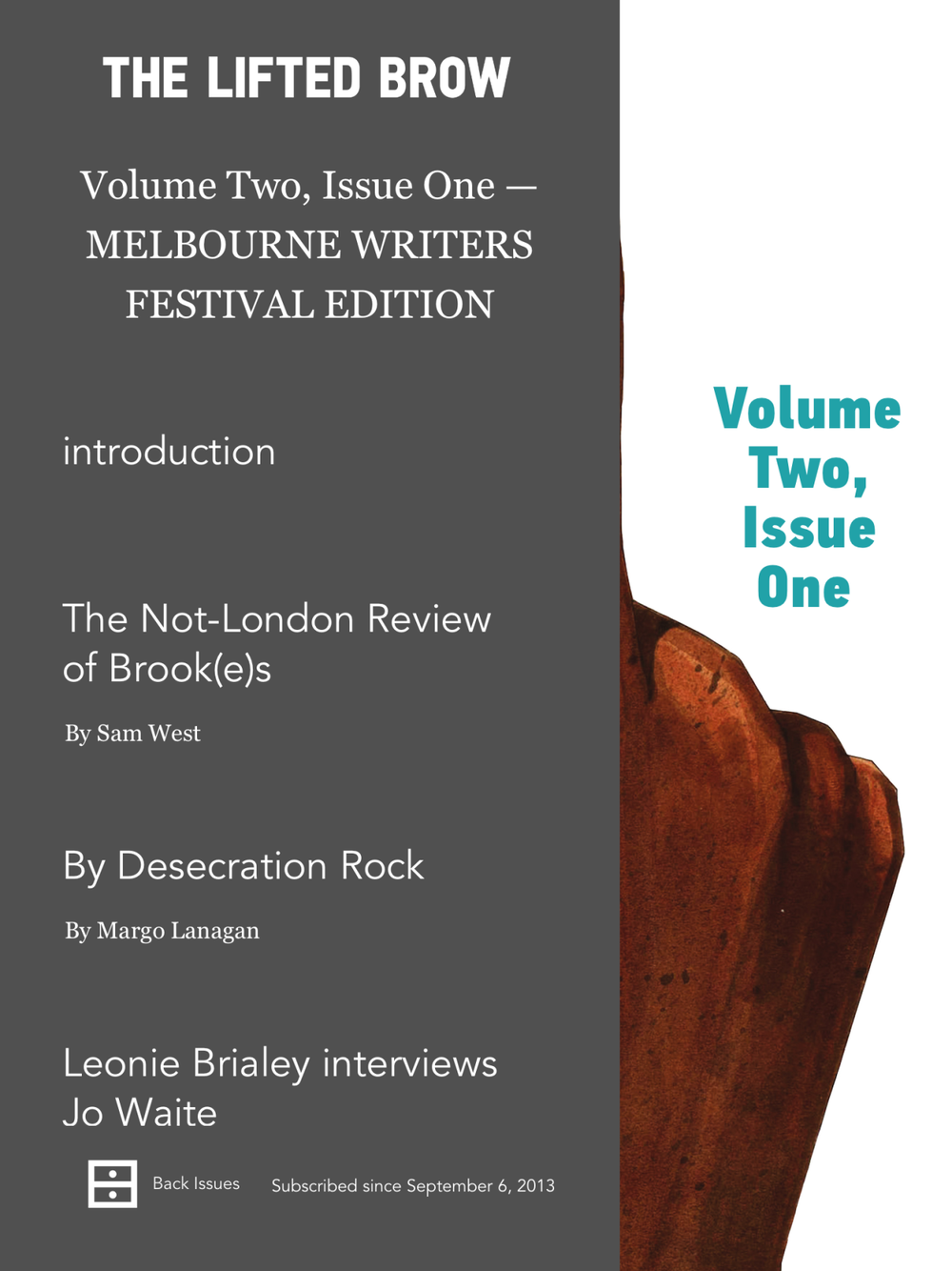 The new update of the digital Brow is here! If you're a subscriber then you've already received it; if you're not, then what are you doing. This edition features a pick of the pieces from our Melbourne Writers Festival themed print issue. It's ridiculously good stuff!