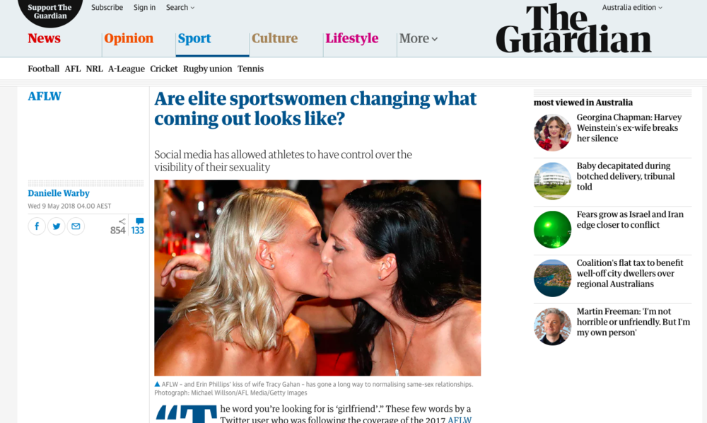 'Are elite sportswomen changing what coming out looks like?'  –  an extract from Danielle Warby's essay, published over at    The Guardian