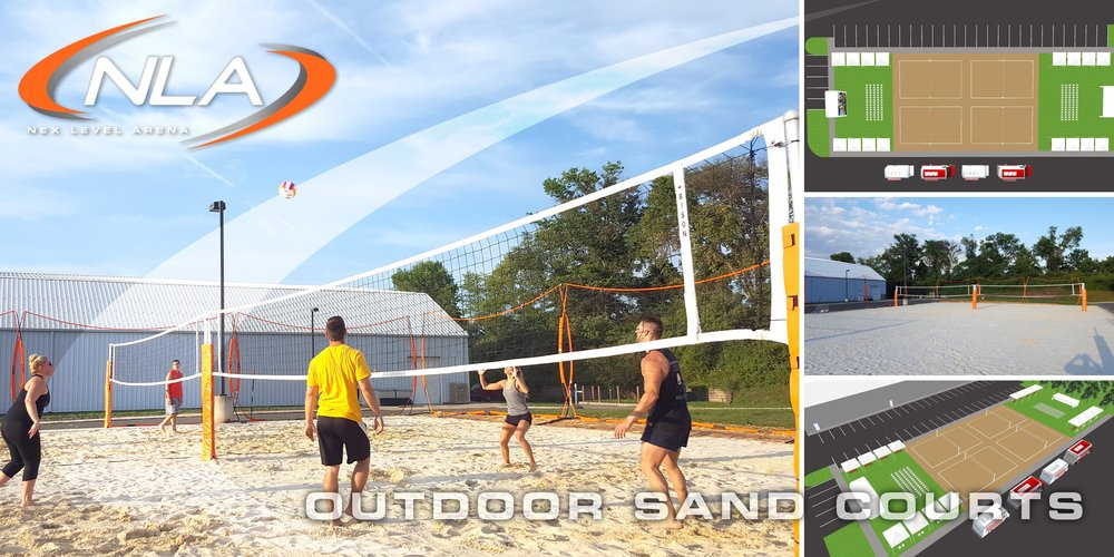The outdoor field at Nex Level Arena will replicate playing any sport at the beach. We offer a professional sand arena which will serve as a venue for leagues and tournaments like volleyball, and spikeball. Our outdoor arena is netted for protection.