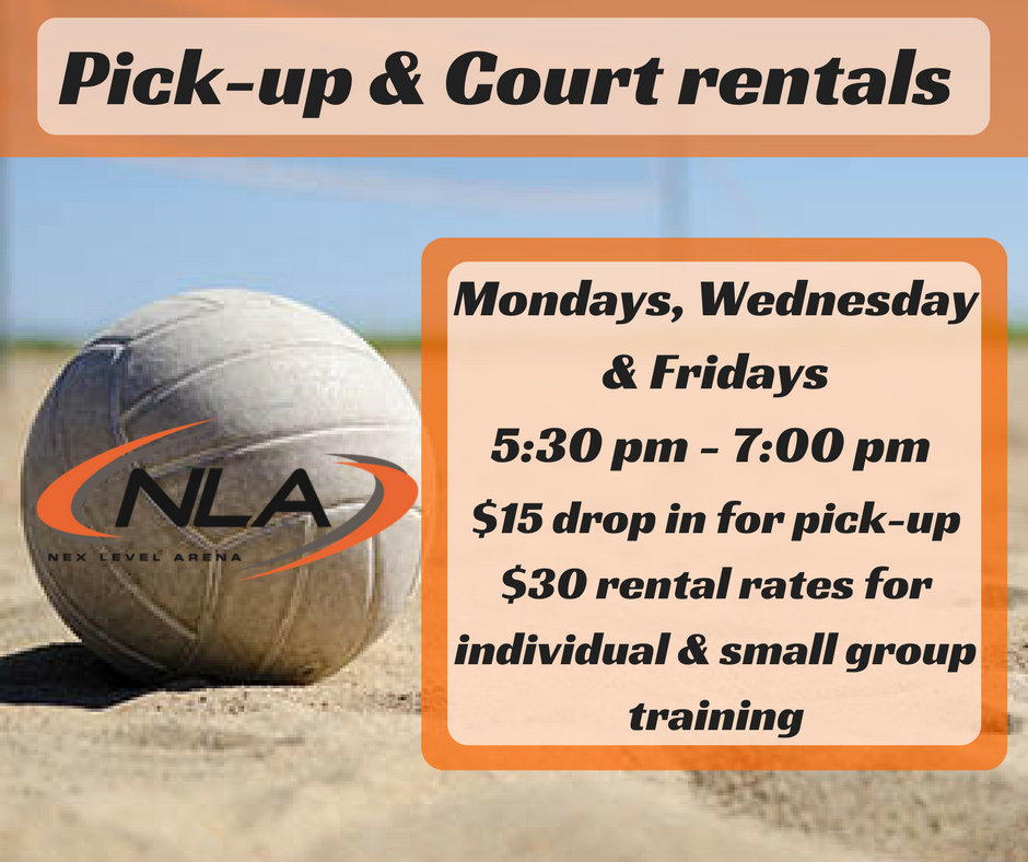 Looking for extra reps this summer? We've set aside time in the early evenings for open pick-up games and individual / small group training. Get your friends & teammates together just to play around or put in that extra work. Your first step to the next level starts at Nex Level Arena!  - Click picture for info and registration. Call or Email our volleyball coordinator to schedule rentals.