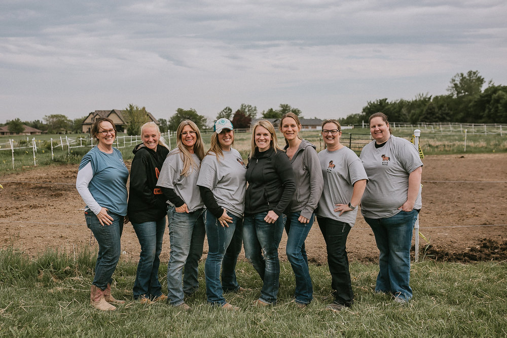 M & M Acres Board Members and Founder, CEO, Megan Maher.  From left to right: Jane Paliakas, April Bostrom, Karen Nitz, Megan Maher, Sarah Lake, Laura Bonuchi, Dr. Kelly Hird Potrzebski, and Kristin Marcheschi  Missing from photo: Cassie Marzo, Alyssa