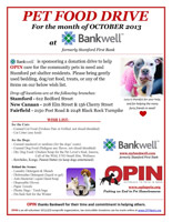 OPIN Bankwell Pet food drive
