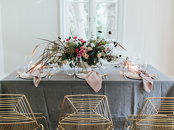 Charcoal Linen Tablecloth - The Supper Club