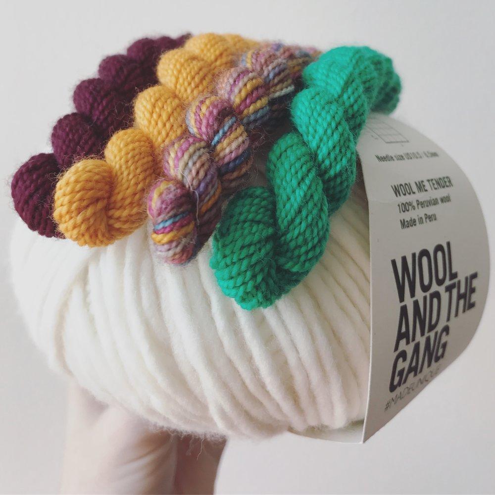 Wool and the Gang, Wool Me Tender, White Rhichard Devrieze, Mini Skeins Image © Firefly Fiber Arts Studio