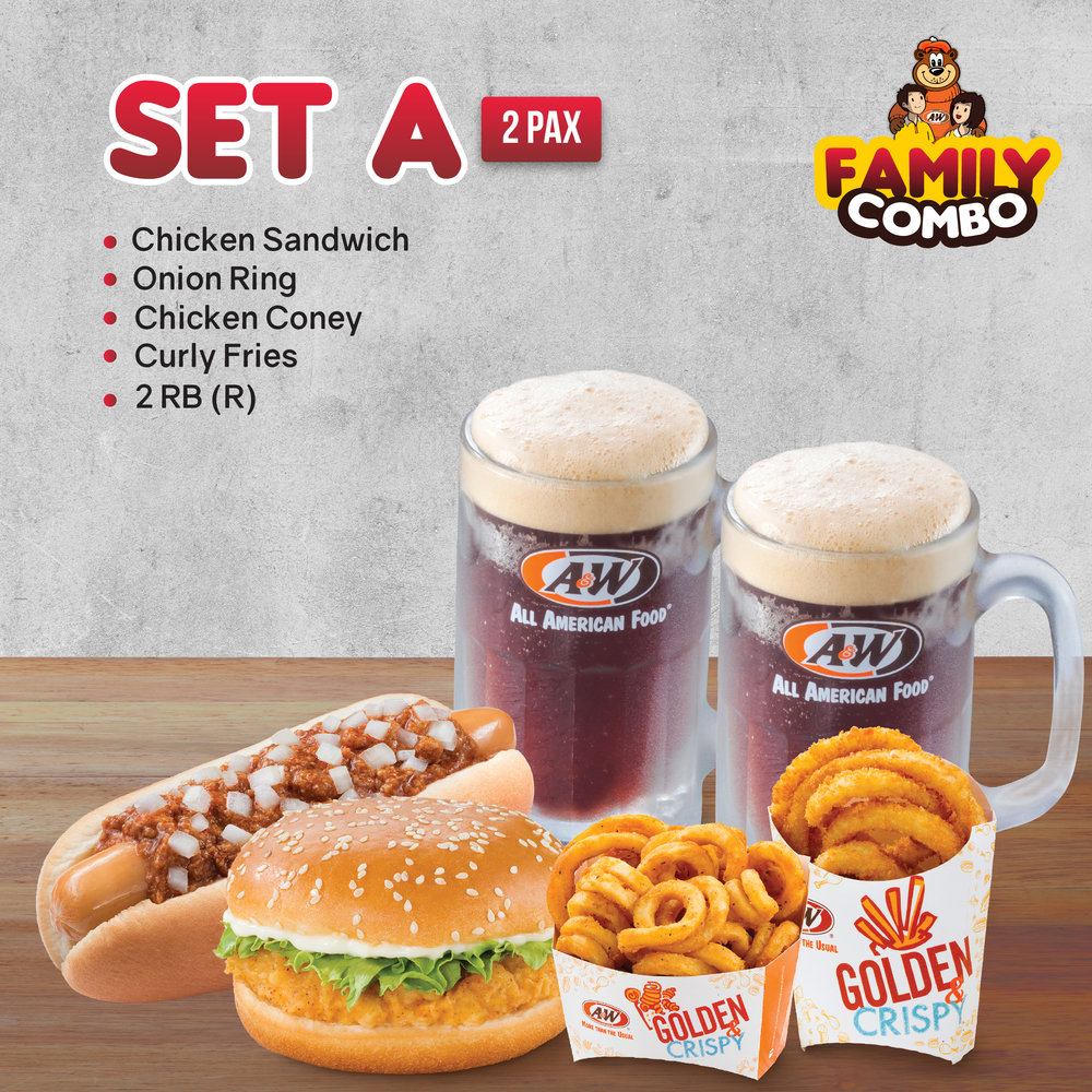 SET A  - Chicken Coney | Chicken Sandwich | Curly Fries | Onion Ring | 2 RB (R)