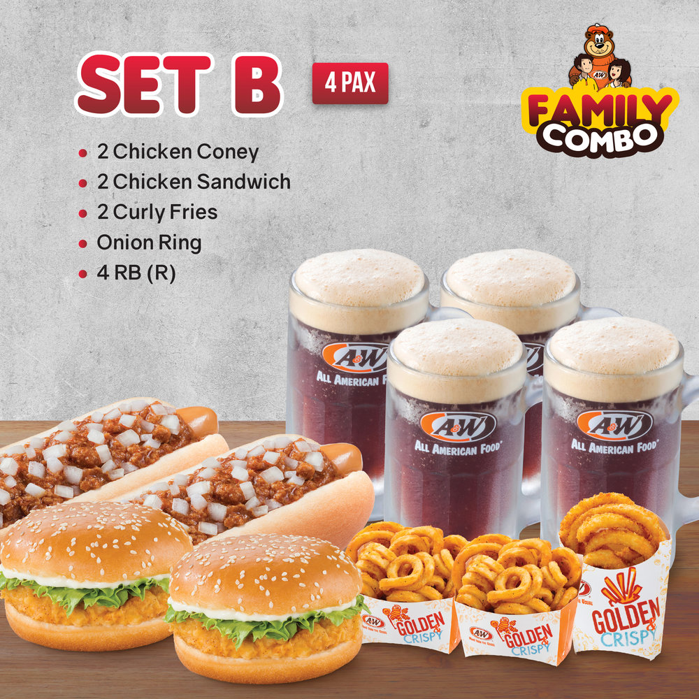SET B  - 2 Chicken Coney | 2 Chicken Sandwich | 2 Curly Fries | Onion Ring | 4 RB (R)