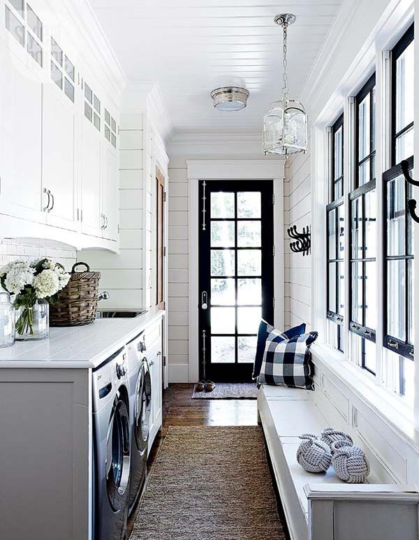 galley-laundry-room-mud-room-black-white-shiplap-walls-black-windows-buffalo-check-pillows-style-at-home1.jpg