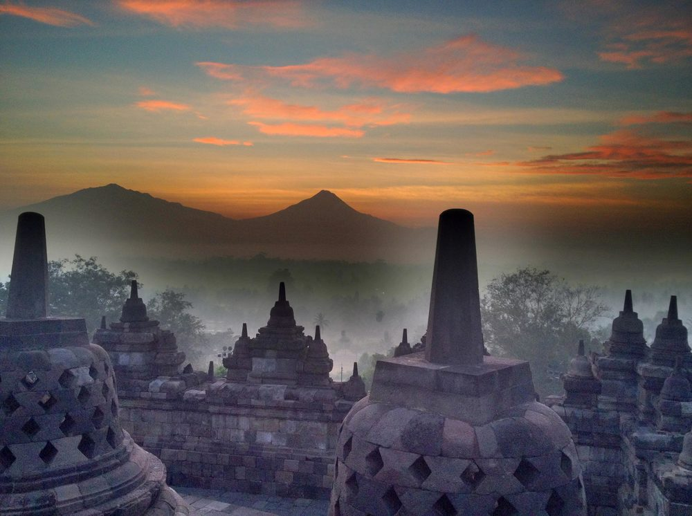 View to Mount Merapi from Borobudur Temple