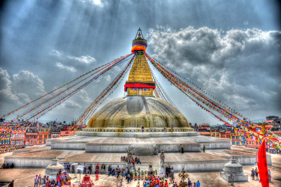 Vista of Boudhanath Stupa, Kathmandu Valley, Nepal