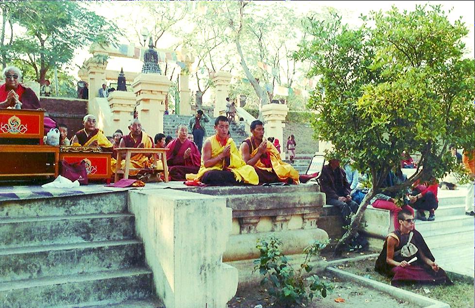 Vajrasana, Bodhgaya, Winter, 1989 - DKR with Kalu Rinpoche's sangha