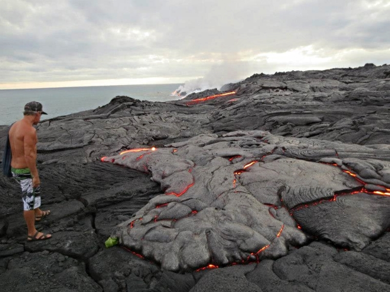 Big Islander at Kalapana's lava flow, 2013