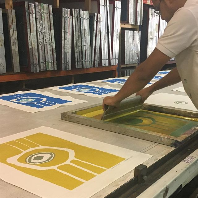 Javed printing up a fresh batch of Bengerang tea towels for @modernmurri #publisher #publishertextiles #modernmurri #indigenous #indigenousart #screenprintingismyhustle #alwayshandprint #deathbeforedigital #madeinsydney #madeinaustralia