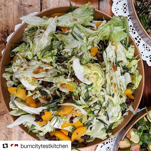 Some new summer items for our function menu.  #Repost @burncitytestkitchen (@get_repost) ・・・ We don't do 'just meat'. We love salad too. Look at this char- grilled peach, cos lettuce, tarragon and crispy caper number by our wonder-chef Jess @mixednuts_n_a_little_sugar . #burncitysmokers #burncitytestkitchen #bbq #salad #youdontmakefriendswithsalad #lettuce #peaches #southkingsville #melbourne