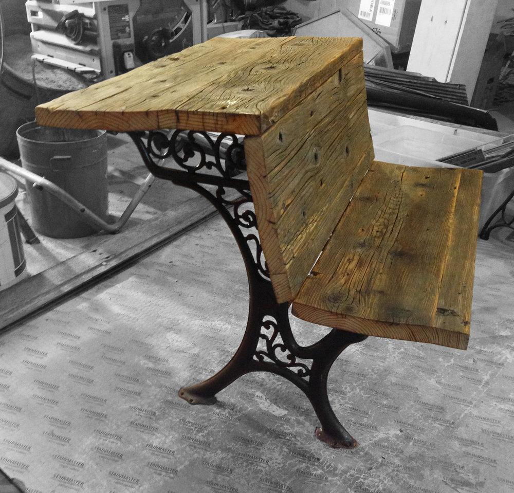 Rustic School Desk Bench