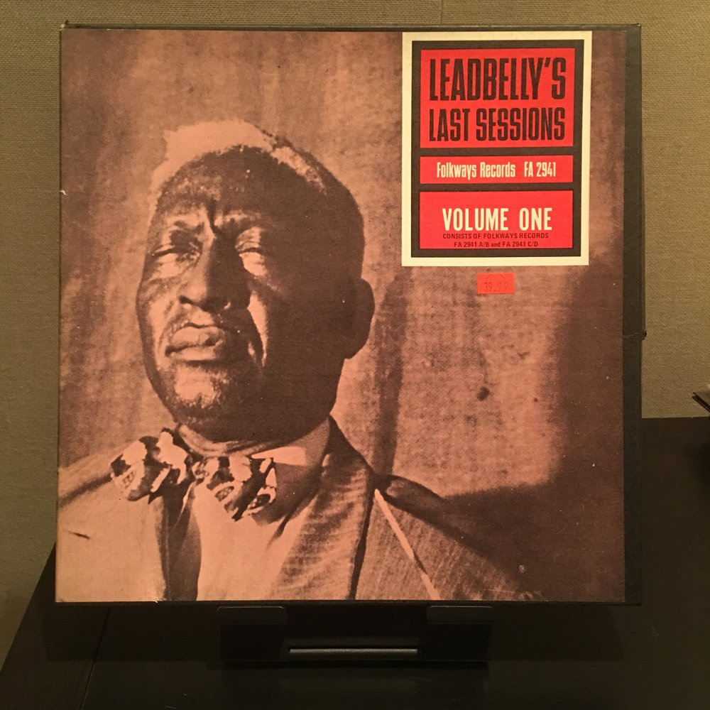 Leadbelly - Leadbelly's Last Sessions (1953) - $40   Recorded (with Vol 1) over 3 nights in September/October 1948 in the NYC apartment of Frederic Ramsey Jr. Apart for a few minor edits, the sessions are presented as recorded, including Leadbelly's often illuminating introductions and general between-song chat.