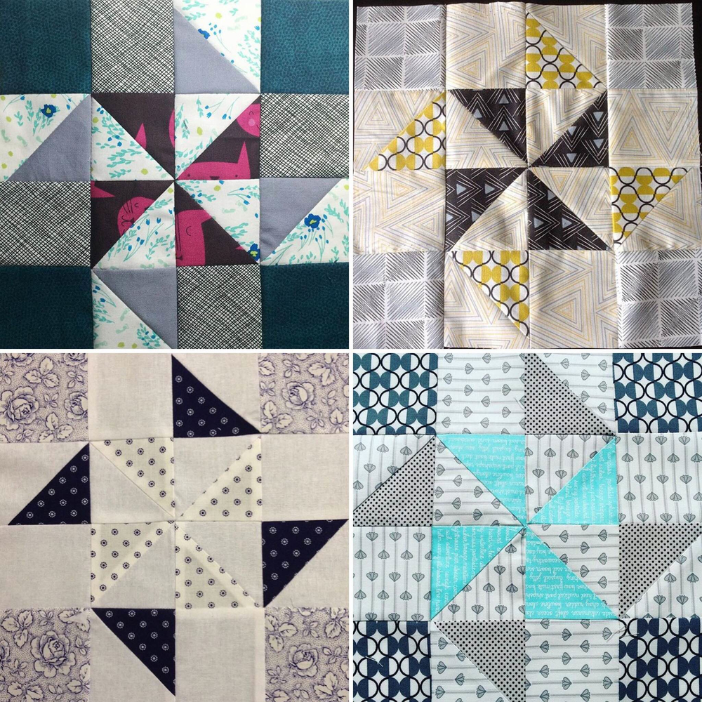 Some wonderful examples of the Soar block, as made by participants. Clockwise from top left: @raspberryspool, @susansquiltstudio, @cvanberkel, and @dibracey.