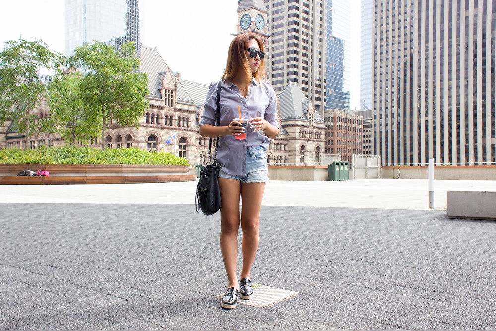 MonicaxGuan pin strip dress shirt with jean shorts and loafers-8.jpg