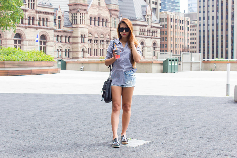 MonicaxGuan pin strip dress shirt with jean shorts and loafers-9.jpg