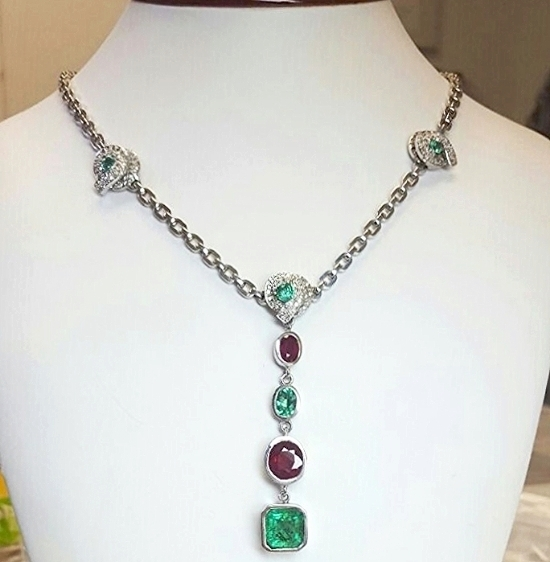 ng 2 18k gold diamondsemeralds and ruby necklace - Wedding Ring Necklace