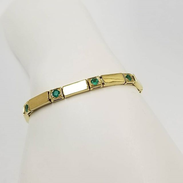 Natural Colombian Emeralds on 18k Gold Bracelet now available for sale on our site!  15% off for all Military/1st Responders (Active/Retired)